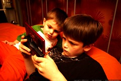 brothers bonding over a nintendo ds gaming session  …