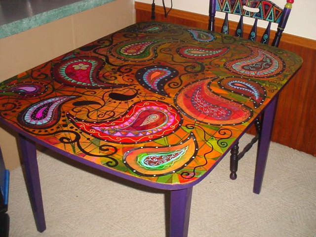 Hand Painted Dining Table And Chairs