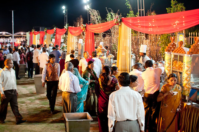 The wedding venue resembled a street fair!