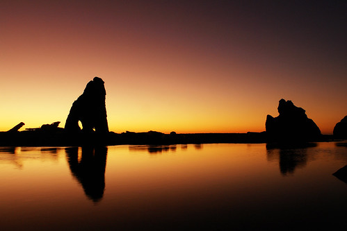 Sea Stack Silhouettes w/ Reflections at Sunset