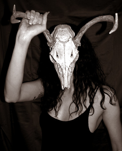 BONELUST - Self Portrait with White-tailed Deer Skull 3 - Ver2 Duotone