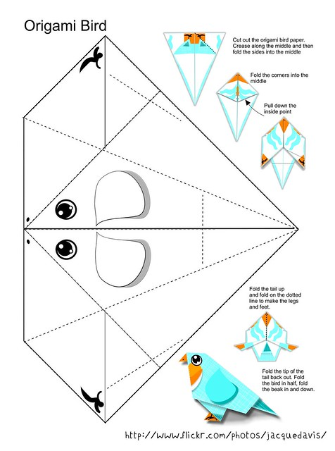 how to make a bird with colour paper