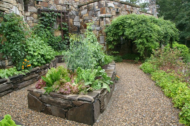 Stone raised beds vegetable garden Flickr Photo Sharing