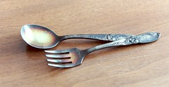 silver(0.0), fork(1.0), spoon(1.0), tool(1.0), metal(1.0), tableware(1.0), cutlery(1.0),