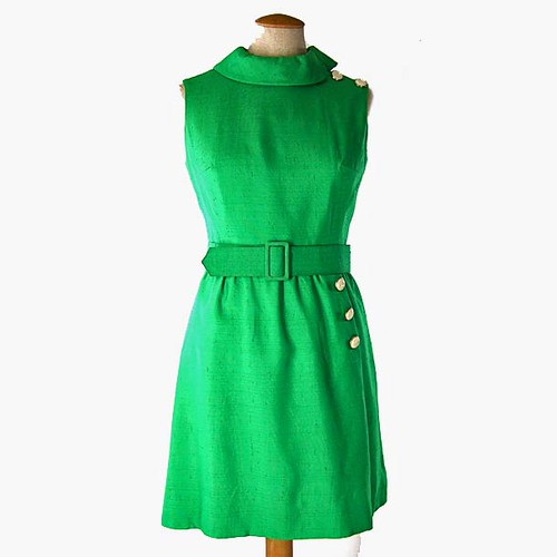 VINTAGE 1960's Sleeveless Green Summer Dress