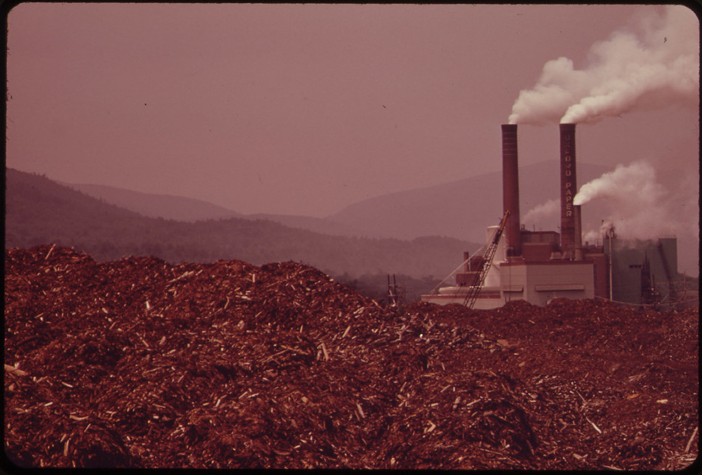 Oxford Paper Company Mill at Rumford. in the Foreground Is A Pile of Bark ... 06/1973