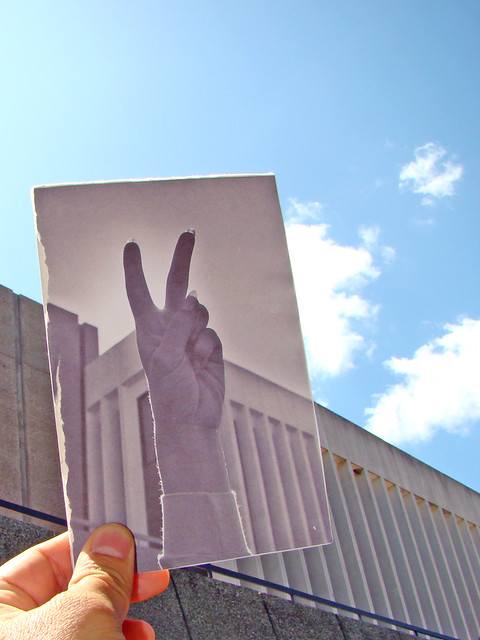 Peace sign + UWGB Environmental Sciences Building now/then