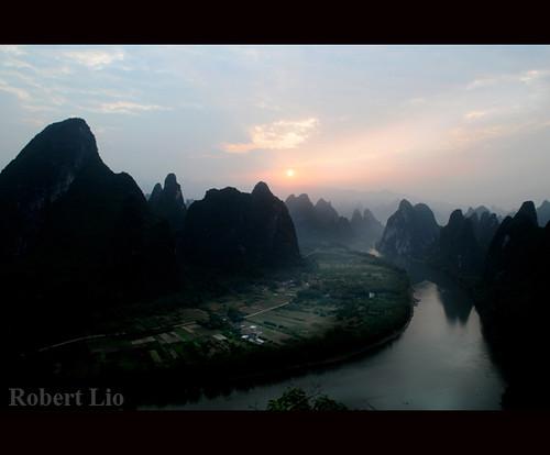 china mountains sunrise river guilin yangshuo guangxi