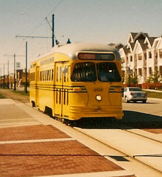 Eastbound yellow PCC electric streetcar.  Kenosha Wisconsin USA. October 2003. by Eddie from Chicago