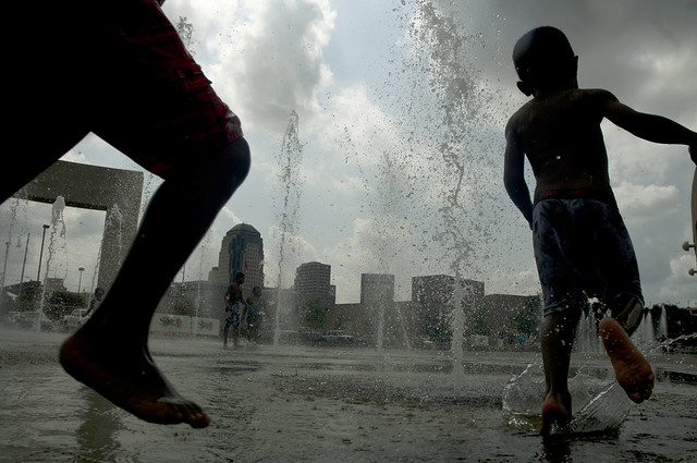 Kids Playing in Downtown Fountains, Shreveport, LA
