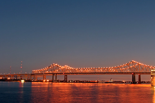 longexposure travel bridge reflections river stars highway louisiana glow waterfront nightshot neworleans radiance mississippiriver nightsky oldmanriver greaterneworleansbridge gorillapodsaretotallyawesome walkingarounddesertedwharfsatnightwithacamera