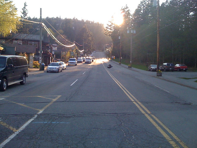 Sunset on Bowen Island main road