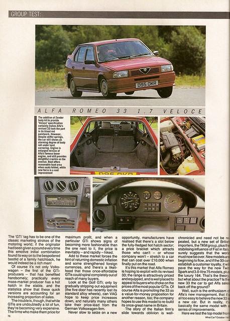 Alfa Romeo 33 1.7 Veloces vesus rivals group test 1987 (3)