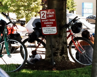 Cyclists resting in Tukwila