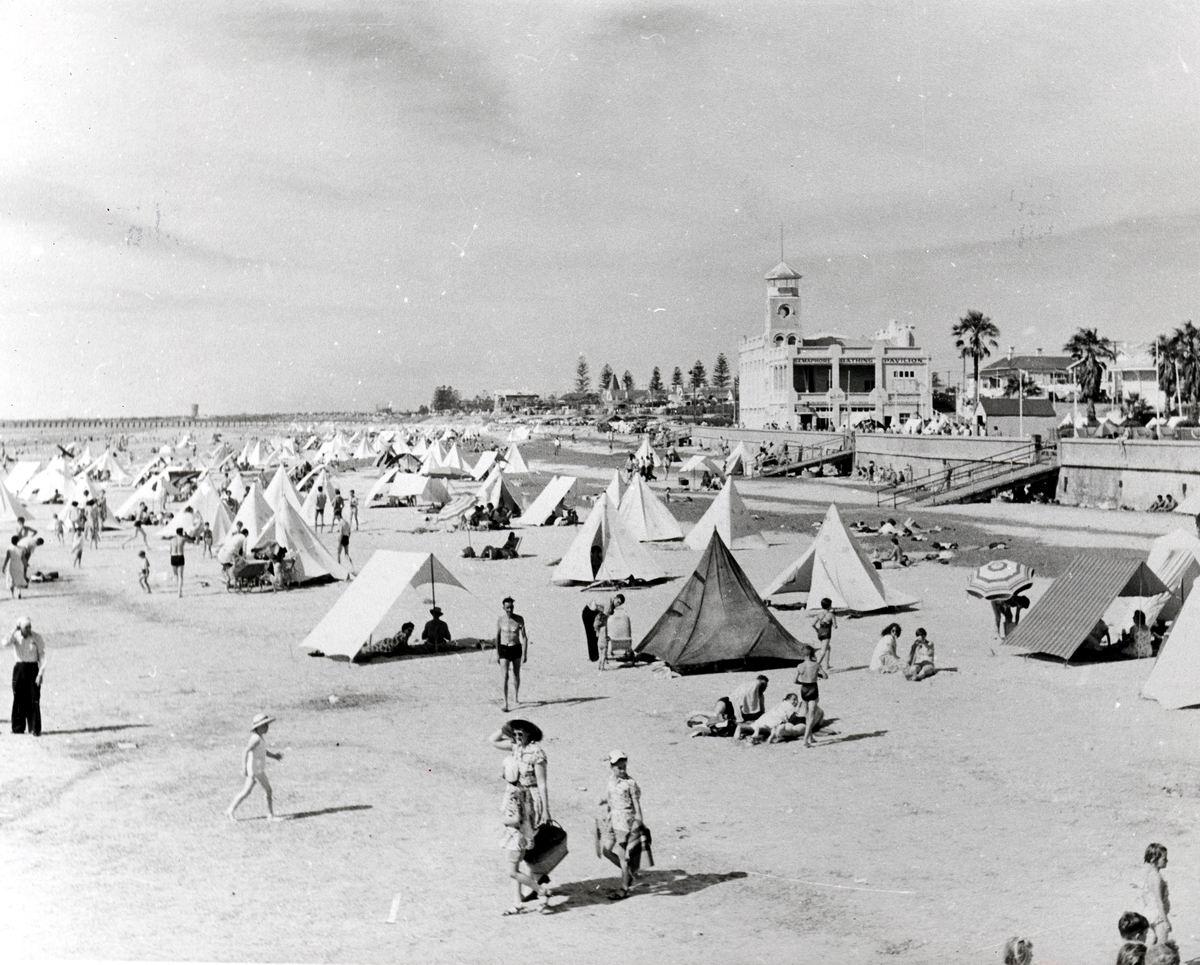 Photo of vacationers on Semaphore Beach, South Australia circa 1950