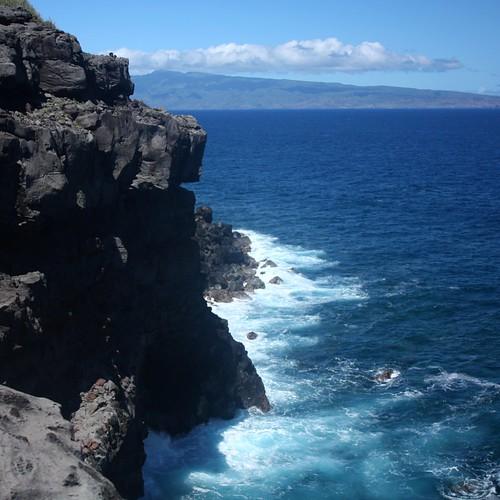 Dramatic sea cliffs along Maui's west coast, north of Honolua Bay.