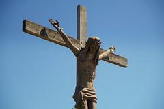 art, symbol, sculpture, crucifix, cross, blue, statue,