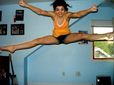 naked jumping toe touch