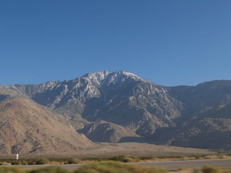 San Jacinto Peak as seen from Interstate 10 in the late afternoon. We were on top of that mountain a few hours ago...