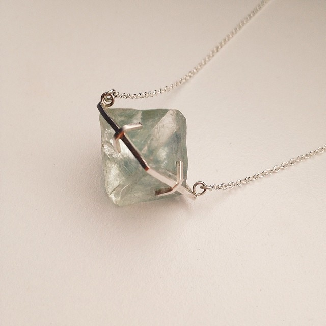 Back in stock, 'Nature's Play.' A uniquely beautiful uncut octahedral Fluorite in a handmade sterling silver eight claw setting on a solid sterling silver cable link chain. :) #naturesplay #handmadejewellery #rocknerd #fluorite #instasmithy #instajewelryg