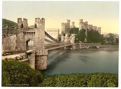 [Castle and suspension bridge, Conway (i.e. Conwy), Wales] (LOC)