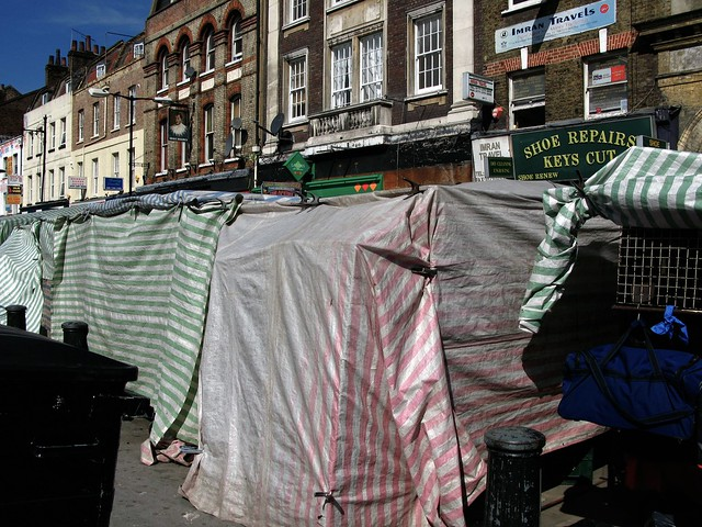 Market stall awnings by Whitechapel Tube Station