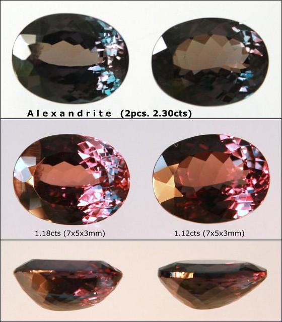 1 pair of Alexandrite, 2.30 carats