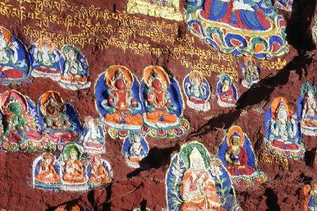 Buddha images on the rock, Lhasa, Dec 2007