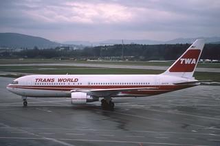 TWA Boeing 767-200; N602TW@ZRH, February 1985
