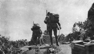 Australian troops going into action, 25 April 1915
