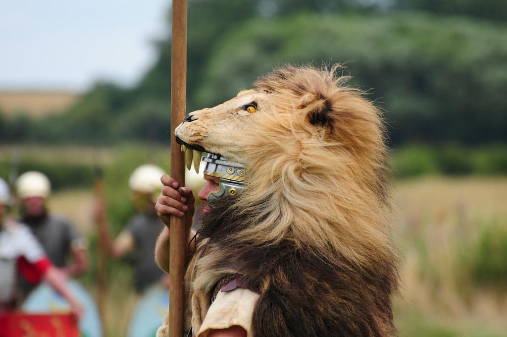 Roman Soldier Aquilifer with Lion-Skin Headdress, Ermine ...