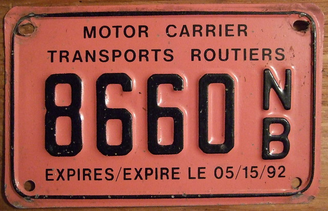New Brunswick Expires Expire Le 05 15 92 Bilingual Screened Legend Motor Carrier Transports