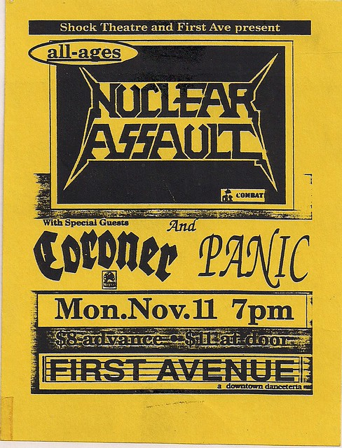 11/11/91 Nuclear Assault/Coroner/Panic @ Minneapolis, MN (Handbill)