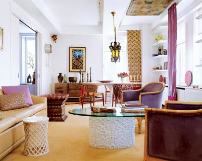 Living Room on Colorful   Eclectic  Beautiful Global Chic Living Room  From Elle