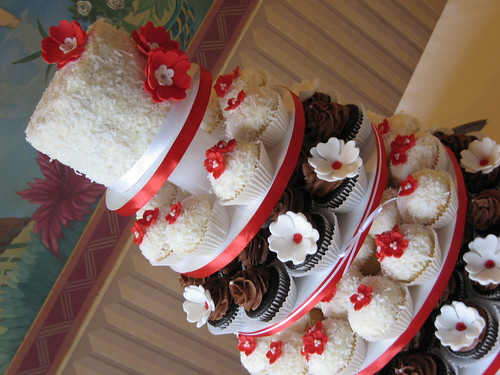 Red, white and chocolate wedding cupcake tower