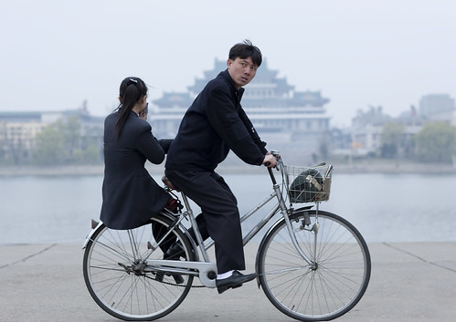 Riding on my bike in Pyongyang North Korea