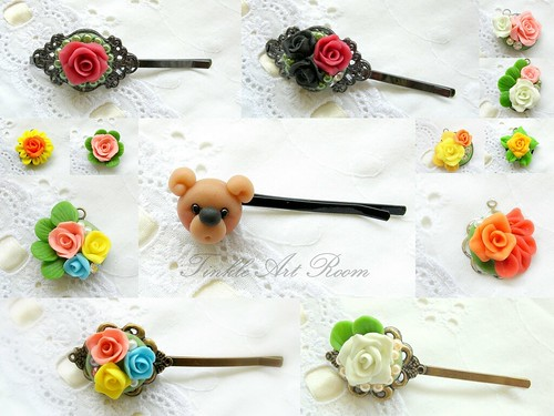 Handmade roses accessories collage 1