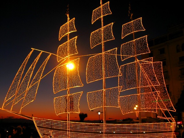 Christmas Boat Greece.Christmas Come In Greece On The Traditional Christmas Boat