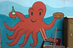 octopus(1.0), mural(1.0), invertebrate(1.0), marine invertebrates(1.0), cartoon(1.0), illustration(1.0),