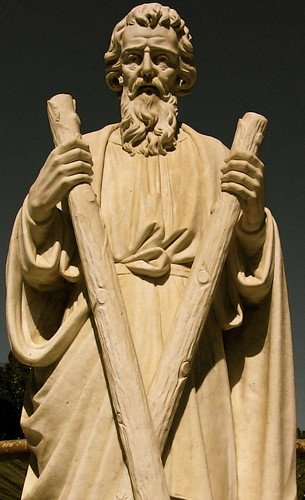Statue of St. Andrew at the Oak Hill Memorial Park in San Jose, California