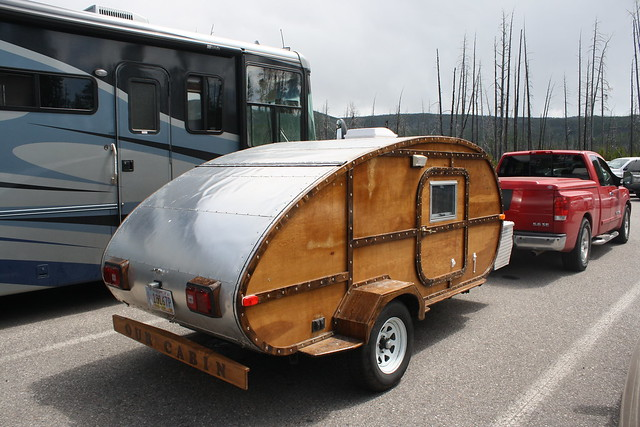 A Teardrop Camping Trailer at Artists Paintpots, Yellowstone National Park, Wyoming, August 7, 2009