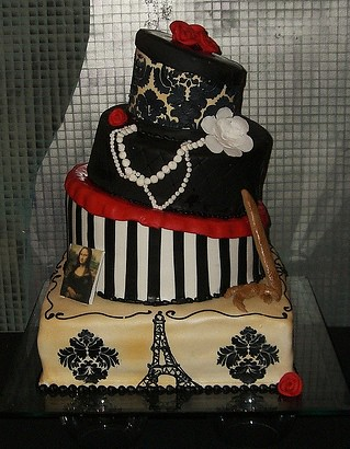 4 tiered wedding cake with a paris theme By Jan and Amanda