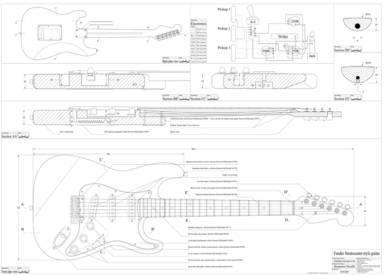 Guitarren strat blueprint for Construction blueprint maker