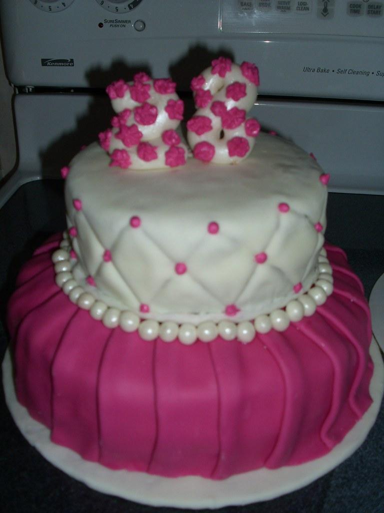 Pink 28th Birthday Cake