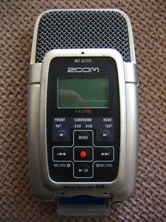 Zoom H2 front view, open SD card slot
