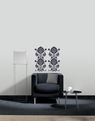 Black damask art wall decor wallpaper border stickers ebay for Wallpaper home bargains