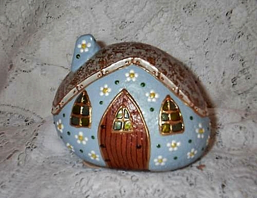 Light blue rock fairy houses flickr photo sharing for Painted fairy doors