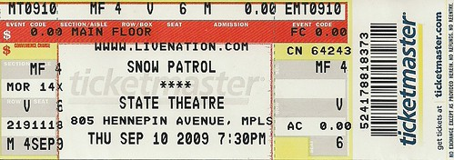 09/10/09 Snow Patrol/Plain White T's @ Minneapolis, MN (MOVED) (Ticket)