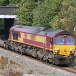 66155 with a northbound 4E69 Soton to Wakefield intermodal at Water Orton 23 Sep 2009
