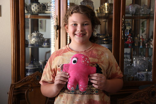Karolin and her elephant plushform